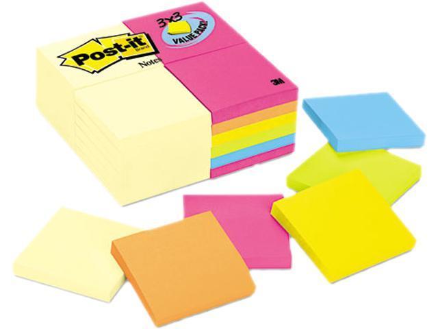 Post-it Notes 654-CYP-24VA 3 x 3, Canary Yellow, Aquatic, Ultra, 24 100-Sheet Pads/Pack