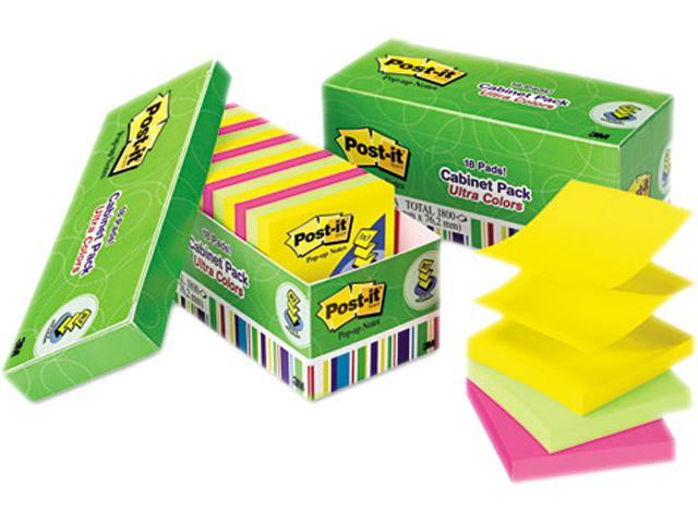 Post-it Pop-up Notes R330-18AUCP Ultra Pop-Up Note Refills, 3 x 3, Assorted Colors, 18 100-Sheet Pads/Pack