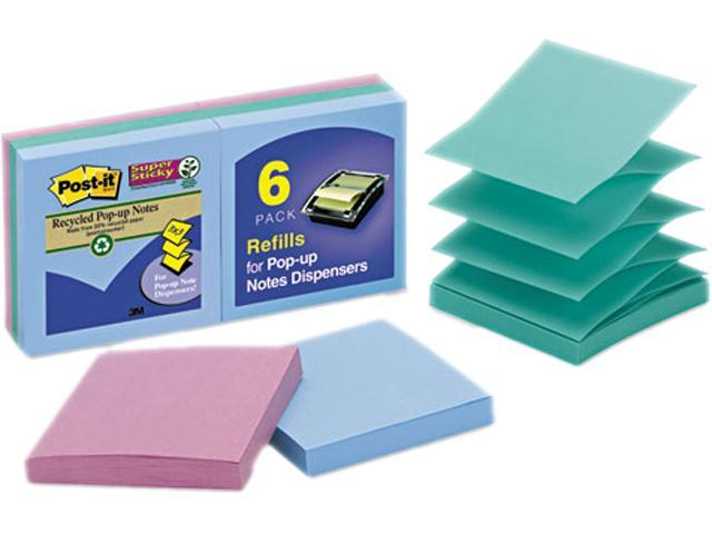 Post-it Pop-up Notes Super Sti R330-6SST Super Sticky Pop-Up Notes, 3 x 3, Tropic Breeze, 6 50-Sheet Pads/Pack