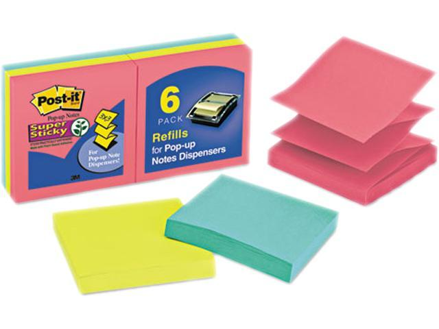 Post-it Pop-up Notes Super Sti R330-6SSUC Pop-Up Refill, 3 x 3, 3 Jewel Pop Colors, 6 90-Sheet Pads/Pack