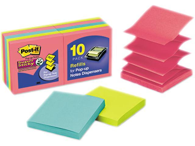 Post-it Pop-up Notes Super Sti R330-10SSAU Pop-Up Notes, 3 x 3, Jewel Pop, 10 90-Sheet Pads/Pack
