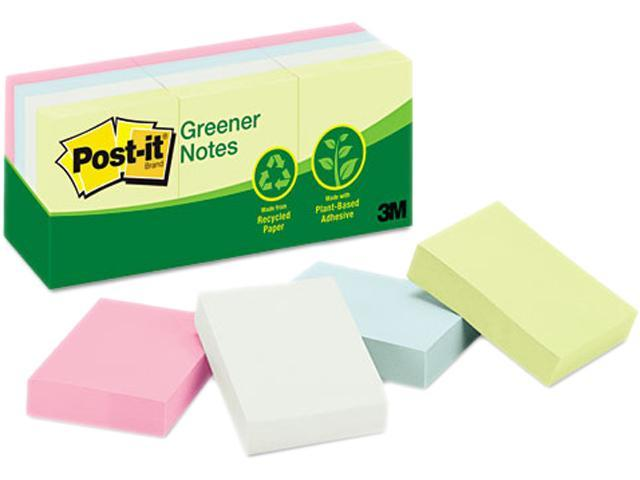 Post-it Greener Notes 653-RP-A Recycled Notes, 1-1/2 x 2, Four Pastel Colors, 12 100-Sheet Pads/Pack