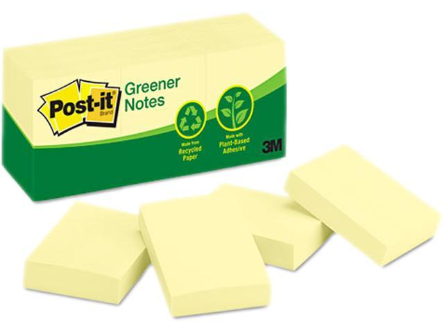 Post-it Greener Notes 653-RP-YW Recycled Notes, 1-1/2 x 2, Canary Yellow, 12 100-Sheet Pads/Pack