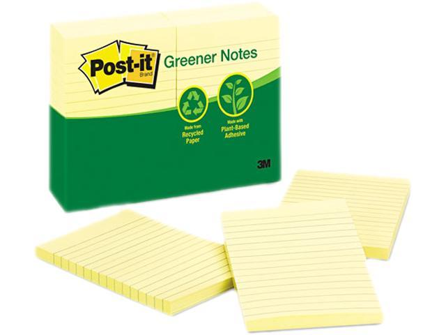 Post-it Greener Notes 660-RP-YW Recycled Notes, 4 x 6, Lined, Canary Yellow, 12 100-Sheet Pads/Pack