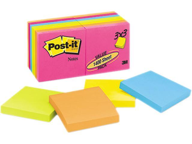 Post-it Notes 654-14AN Original Pads in Neon Colors, 3 x 3, Five Neon Colors, 14 100-Sheet Pads/Pack