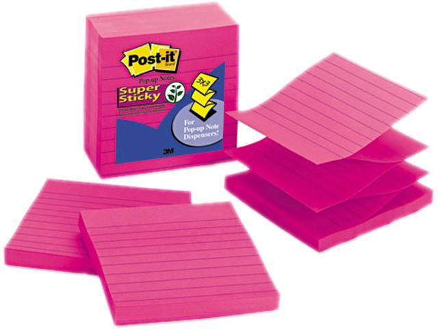 Post-it Pop-up Notes Super Sti R440-FFSS Pop-Up Refills, 4 x 4, Lined, Fuchsia, Riuled, 5 90-Sheet Pads/Pack