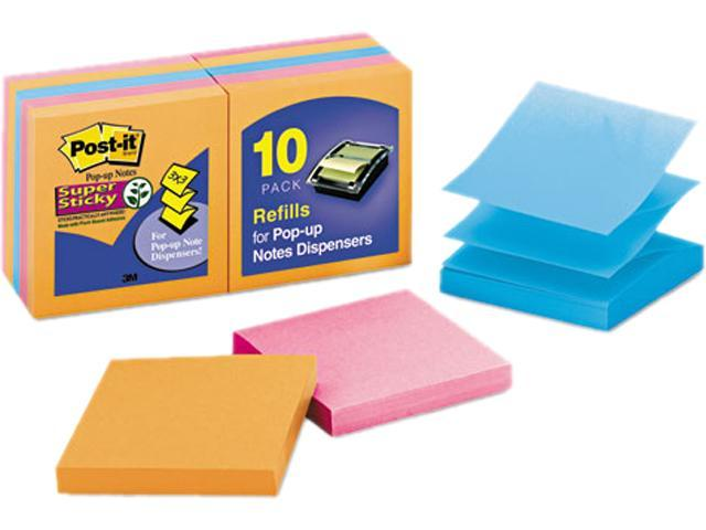 Post-it R330-10SSAN Pop-Up Notes, 3 x 3, Electric Glow, 10 90-Sheet Pads/Pack