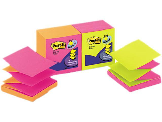 Post-it Pop-up Notes R-330-N-ALT Pop-Up Refills, 3 x 3, 4 Alternating Neon Colors, 12 100-Sheet Pads/Pack