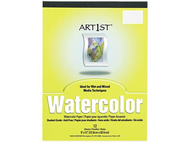 Pacon 4910 Artist Watercolor Paper Pad, 9 x 12, White, 12 Sheets/Pad