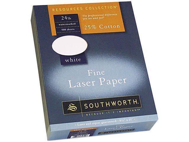 Southworth 31-724-10 25% Cotton Laser Paper, 24 lbs., 8-1/2 x 11, White, 500/Box