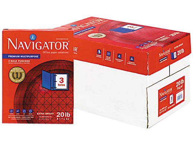 Navigator NMP113HP Premium Multipurpose Paper, 97 Brightness, 3-Hole Punch, 20lb, Ltr, WE, 5000/Ctn
