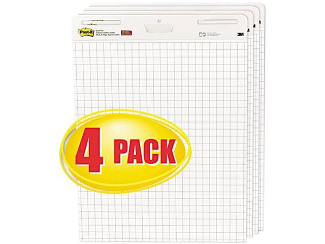 Post-it Self-Stick Easel Pads, Quad Rule, 25 x 30, White, 4 30-Sheet Pads/Carton