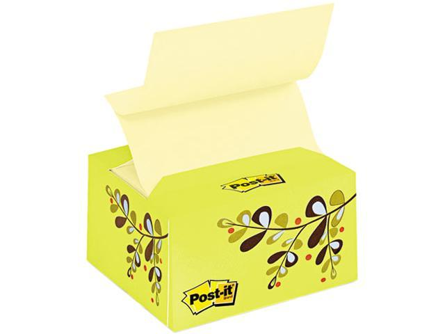Post-it Greener Notes B330-ED-GN Recycled Pop-up Notes in a Desk Grip Decorative Box, 3 x 3, Green/Leaf Design