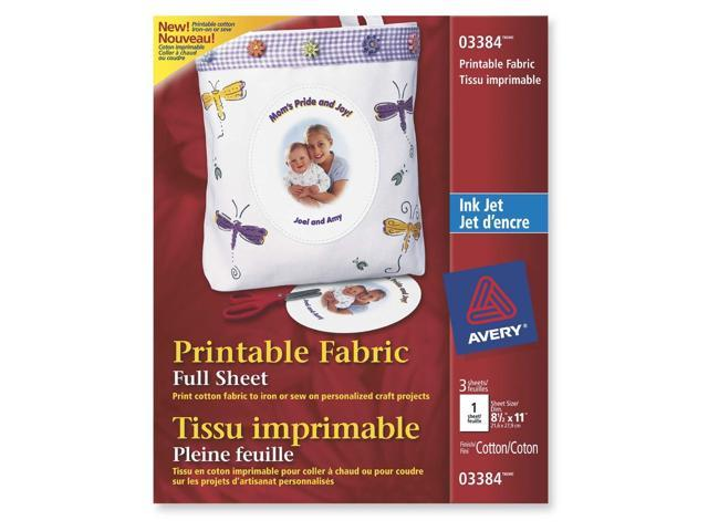 Avery 3384 Printable Fabric for Inkjet Printers 8-1/2