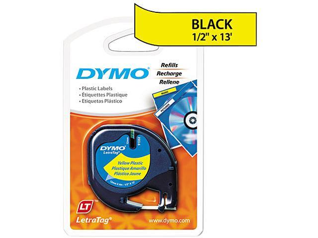 """Dymo LetraTag 91332 Polyester Tape 0.50"""" Width x 13 ft Length - 1 Each - Polyester - Direct Thermal - Yellow"""