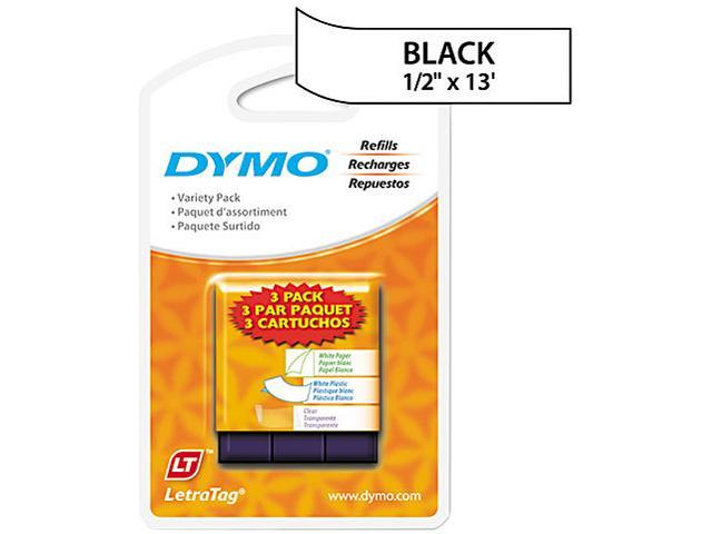 "Dymo LetraTag 12331 3-Roll Starter Kit 0.50"" Width x 13 ft Length - 3 / Pack - Plastic - Direct Thermal - Assorted"