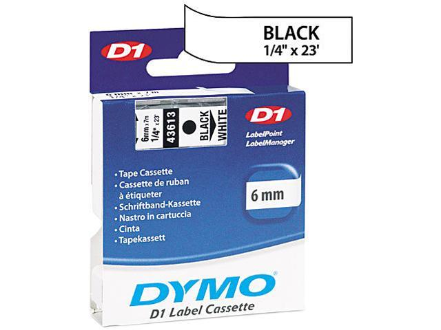 "Dymo 43613 Black on White D1 Label Tape 0.25"" Width x 23 ft Length - 1 Each - Polyester - Thermal Transfer - White"