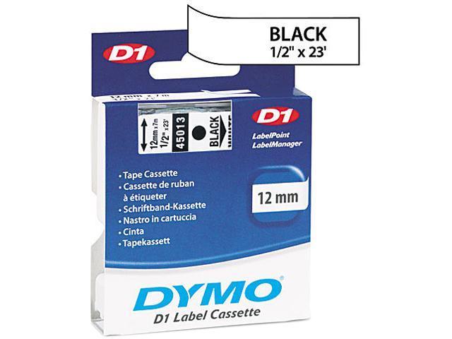 DYMO D1 Standard Tape Cartridge for Dymo Label Makers, 1/2in x 23ft, Black on White (45013)