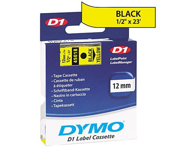 "Dymo 45018 Black on Yellow D1 Label Tape 0.50"" Width x 23 ft Length - 1 Each - Polyester - Thermal Transfer - Yellow"