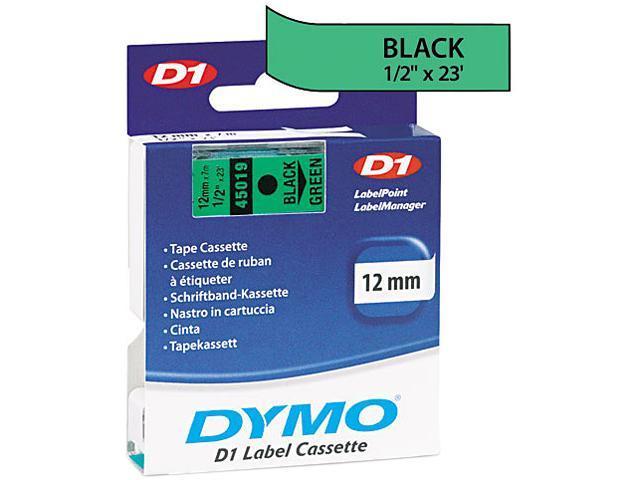 "Dymo D1 45019 Tape 0.50"" Width x 23 ft Length - 1 Each - Polyester - Thermal Transfer - Black, Green"