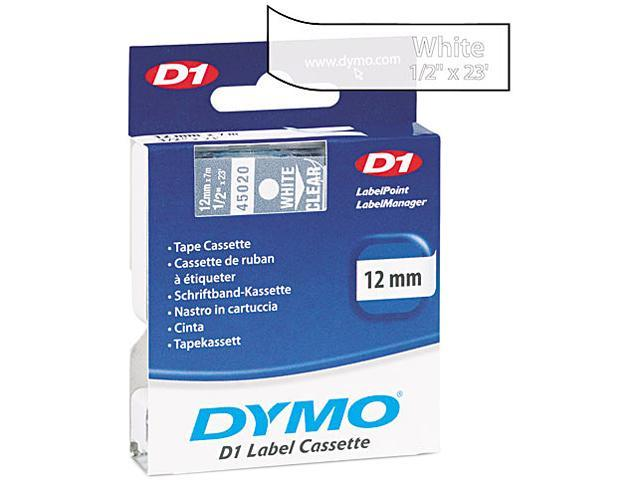 DYMO 45020 D1 Standard Tape Cartridge for Dymo Label Makers, 1/2in x 23ft, White on Clear
