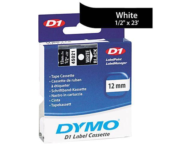 Dymo 45021 White on Black D1 Label Tape 0.50