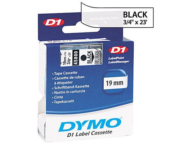 "Dymo 45800 Black on Clear D1 Label Tape 0.75"" Width x 23 ft Length - 1 Each - Polyester - Thermal Transfer - Clear"