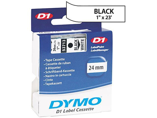 "Dymo 53713 Black on White D1 Label Tape 1"" Width x 23 ft Length - 1 Each - White"