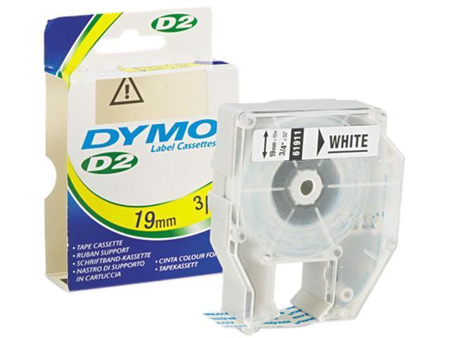 """Dymo 61911 D2 White Tape 0.75"""" Width x 32 ft Length - 1 Each - Thermal Transfer - White"""
