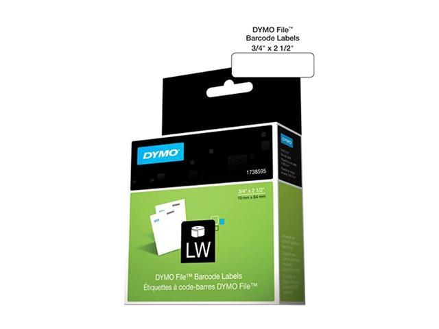 "DYMO 1738595 Rhino File Barcode Label 0.75"" Width x 2.50"" Length - 450 / Roll - 450/Roll - Direct Thermal - White"