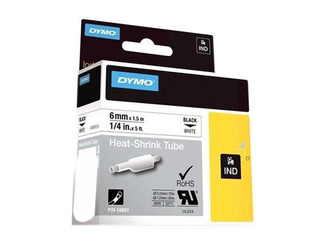"""DYMO 18051 Rhino Heat Shrink Tubes Industrial Label Tape Cassette, 1/4"""" x 5 ft, White"""