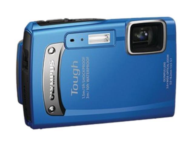 OLYMPUS TG-130 Blue 14.0 MP 3.6X Optical Zoom Waterproof 28mm Wide Angle Digital Camera