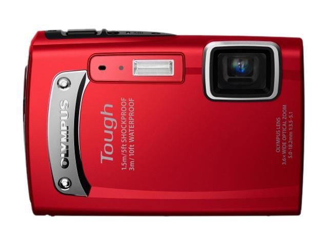 OLYMPUS TG-130 Red 14.0 MP 3.6X Optical Zoom Waterproof 28mm Wide Angle Digital Camera