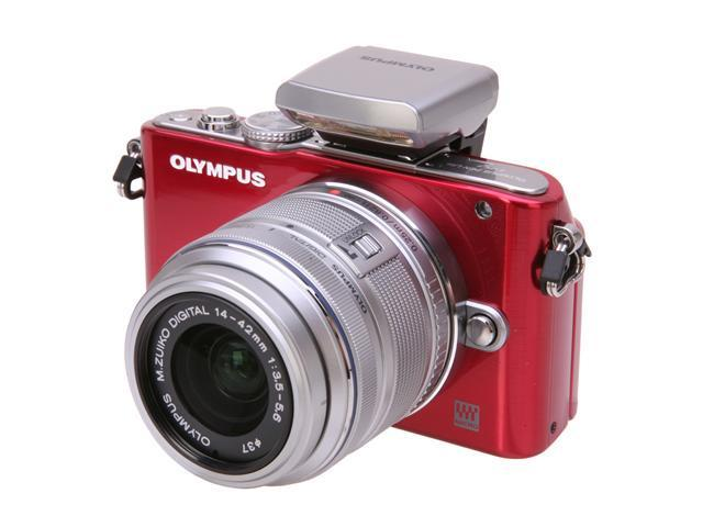 OLYMPUS PEN E-PL3 V205031RU000 Red Interchangeable Lens Type Live View Digital Camera w/14-42mm Lens