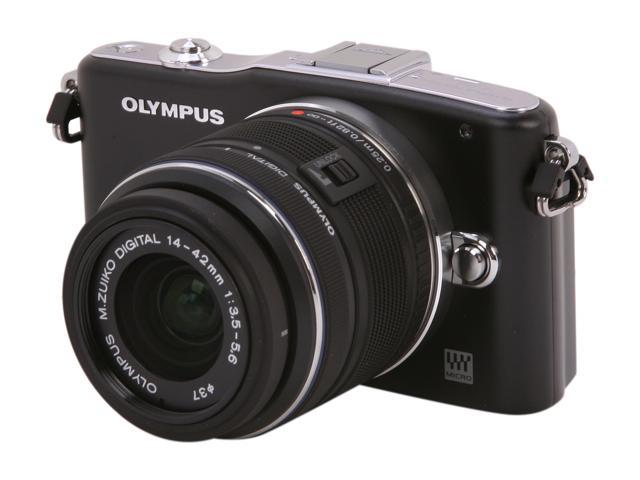 OLYMPUS PEN E-PM1 (V206011BU000) Black Interchangeable Lens Type Live View Digital Camera w/14-42mm Lens
