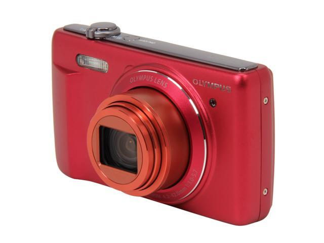 OLYMPUS VR-340 Red 16 MP 24mm Wide Angle Digital Camera