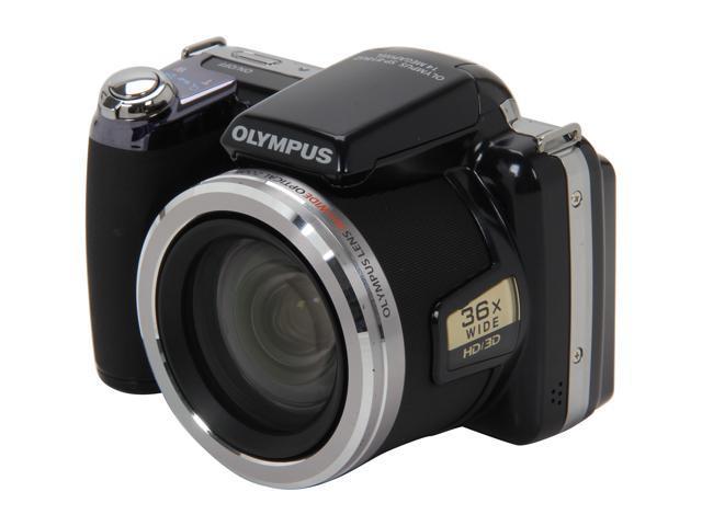 OLYMPUS SP-810UZ Black 14 MP 24mm Wide Angle Digital Camera HDTV Output
