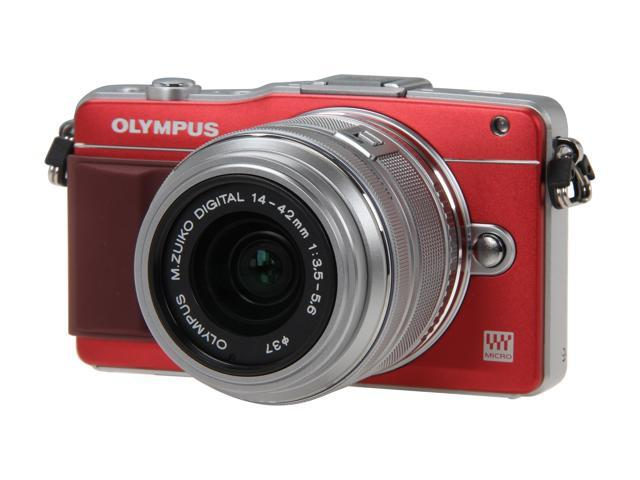 OLYMPUS E-PM2 Red Micro Four Thirds Interchangeable Lens System Camera with Silver 14-42mm II R M. Zuiko Lens