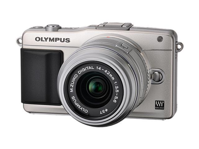OLYMPUS E-PM2 V206021SU000 Silver Micro Four Thirds interchangeable lens system camera with 14-42mm II R M. Zuiko Lens