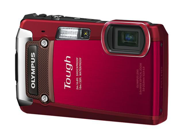 OLYMPUS TG-820 iHS Red 12 MP Waterproof Shockproof 28mm Wide Angle Digital Camera HDTV Output
