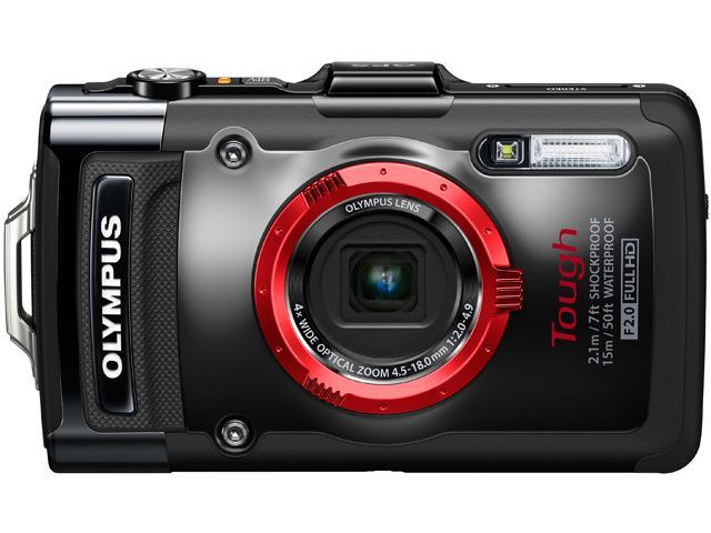OLYMPUS TG-2 iHS Black 12 MP 4X Optical Zoom Waterproof Shockproof Wide Angle Digital Camera HDTV Output