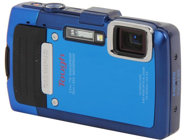 OLYMPUS TG-830 iHS Blue 16 MP 5X Optical Zoom Waterproof Shockproof Wide Angle Digital Camera HDTV Output