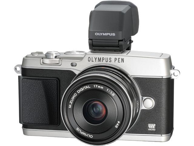 OLYMPUS PEN E-P5 V204053SU000 Silver Micro Four Thirds interchangeable lens system camera with 17mm f1.8 and Black VF-4