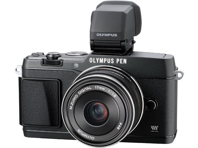 OLYMPUS PEN E-P5 V204053BU000 Black Micro Four Thirds interchangeable lens system camera with 17mm f1.8 and Black VF-4