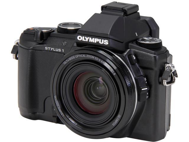 OLYMPUS Stylus 1 Black 12 MP 10.7X Optical Zoom 28mm Wide Angle Digital Camera HDTV Output