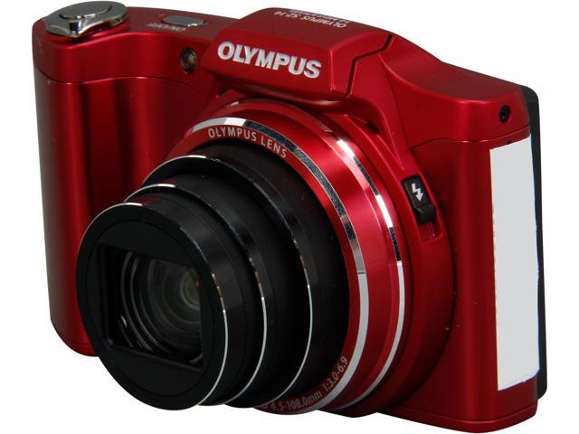 Olympus 14MP 24x Camera, SZ-14 Red, With 4GB PNY Memory Card and Paintshop Pro Photo X2