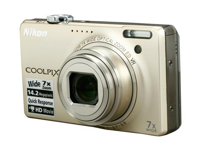 Nikon COOLPIX S6000 Champagne Silver 14.2 MP 7X Optical Zoom 28mm Wide Angle Digital Camera