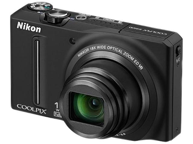 Nikon S9100 Black 12.1 MP 18X Optical Zoom 25mm Wide Angle Digital Camera HDTV Output