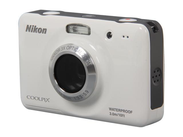 Nikon Coolpix S30 White 10.1 MP 3X Optical Zoom Waterproof Shockproof Wide Angle Digital Camera