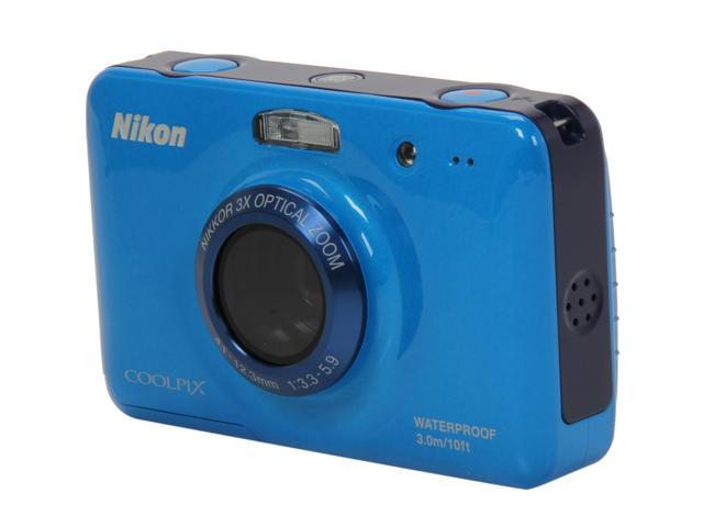 Nikon Coolpix S30 Blue 10.1 MP 3X Optical Zoom Waterproof Shockproof Wide Angle Digital Camera